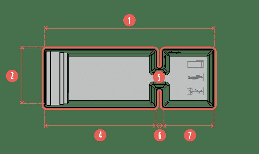 Dans la ligne Sport & Bien-être, le modèle Symétrik offre une piscine coque à double bassin, implantés côte à côte. Profitez ainsi d'une piscine multifonction autant destinée à la nage qu'au sport (nage contre-courant) et à la détente (bassin balnéo).